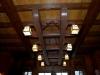 rustic oak and pine beamed ceiling & custom oak chandelier
