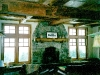 rustic recycled mantle and beamed ceilings