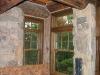 custom window trim in log home
